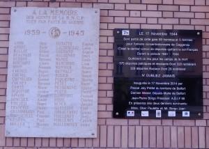 Plaques commémoratives sur le mur de la gare de Belfort. (Photo : R.Bernat)