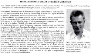 """iitnéraire de Milo Géhant (Source : M.A. Vacelet : """"Le Territoire de Belfort dans la tourmente 1939-1944)"""