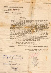 lettre de menace reçue par Mme Fanet, résistante à Belfort
