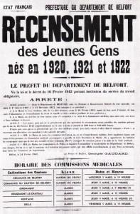 Affiche de recensement pour le STO - Belfort (Source : ADTB)
