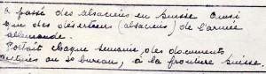 Extrait du registre de Victor Heidet concernant Olga Sassi.