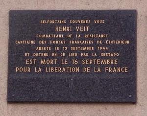 """""""Plaque au 55 faubourg des Ancêtres, siège de la Gestapo à Belfort"""""""