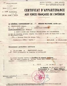 Cetificat d'appartenance au FFI de Joseph Grandvoinet, père de René Grandvoinet. (Source : Coll privée J.M Grandvoinet)