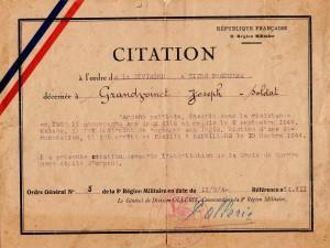 Citation concernant Joseph Grandvoinet, père de rené Grandvoinet. (Source : Coll privée J.M Grandvoinet)