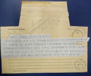 TelegrammeParis1942RecenserJuifs